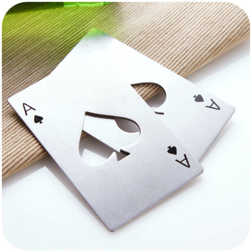 Poker Playing Card Ace of Spades Bottle Opener