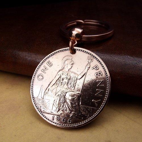 1966 British Penny Coin Keyring Birthday Gift