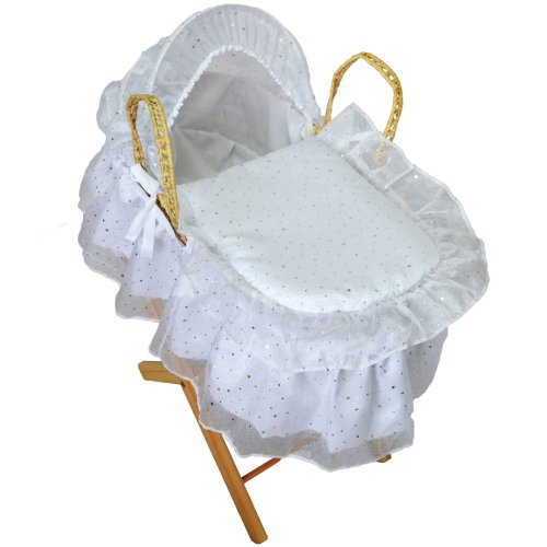 Broderie Anglaise Dolls Moses Basket Sparkle White
