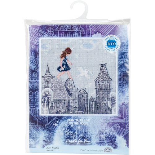 """Fairy Tales Live On Roofs Counted Cross Stitch Kit-9.5""""X9.5"""" 14 Count"""