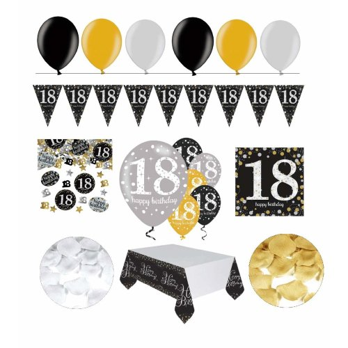 Festefeiern Shopde Celebrations Birthday Decoration For 18th 31 Pieces All In One Set Balloon Bunting Flowers Confetti Gold Black Silver On