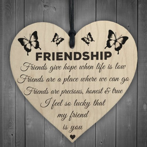 Red Ocean I'm Lucky My Friend Is You Wooden Hanging Heart Friendship Gift Best Friends