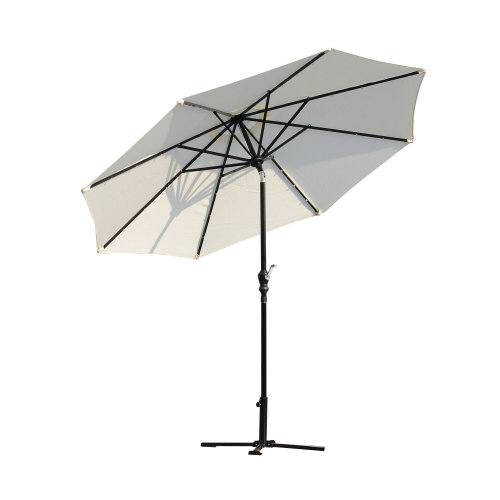 Outsunny 2.7m Garden Parasol With 24 LED Lights - Cream