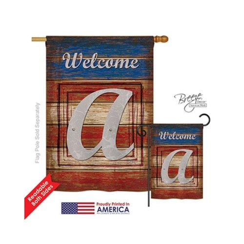 Breeze Decor 30105 Patriotic A Monogram 2-Sided Vertical Impression House Flag - 28 x 40 in.