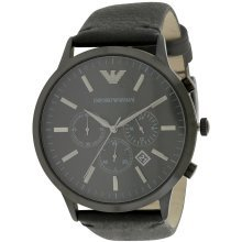Emporio Armani Chronograph Black Leather Mens Watch AR2461