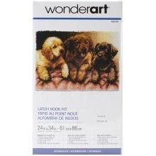 "Caron Wonderart Latch Hook Kit 24""X34""-Lab Puppies"