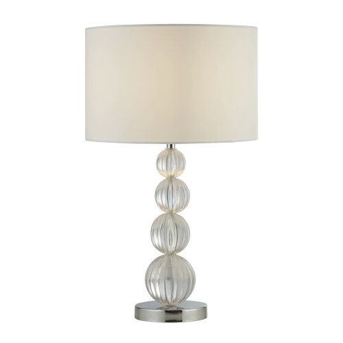 Searchlight Louis 1 Light Table Lamp Chrome And Acrylic With White Shade