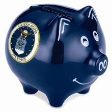 Piggy Bank Safe Air Force Stoneware Savings Money Cash Box with Coin Slot