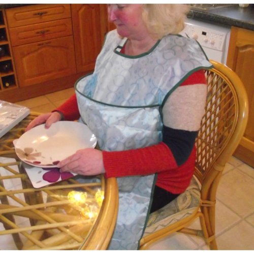 CRUMB CATCHER APRON - Adult dining bib - Large pocket to catch food and liquid.