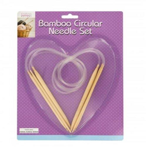 Bulk Buys OS349-16 Bamboo Circular Knitting Needle Set - 16 Piece