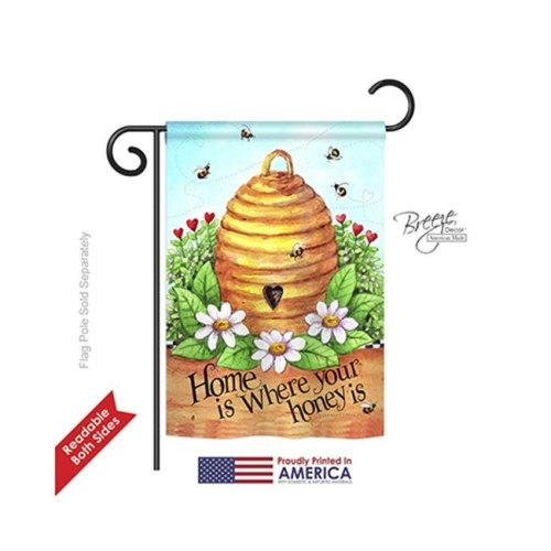 Breeze Decor 54083 Bee Hive Home 2-Sided Impression Garden Flag - 13 x 18.5 in.