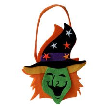 Trick Or Treat Witch Halloween Party Decor Children Prop Candy Storage-A6