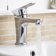 Modern Round Chrome Basin Sink Mixer Tap Single Lever Premier Without Waste