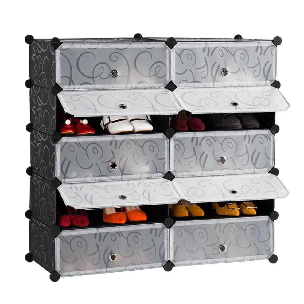 10-Cube DIY Plastic Modular Shoe Rack Bookcase Cloth Organizer Storage