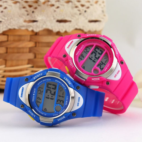 SKMEI Boys And Girls Pink Blue Digital Watch With Stopwatch Alarm Light Ages 6-13