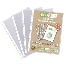 A4 CLEAR PUNCHED POCKETS PLASTIC SLEEVE WALLET ECO009