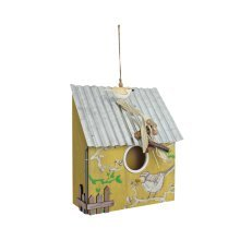 Hanging Yellow Wooden Bird House with Corrugated Metal Roof