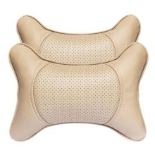 Fashion Decent Head Pillow Soft Neck Protection Auto Pillow-Cream-colored