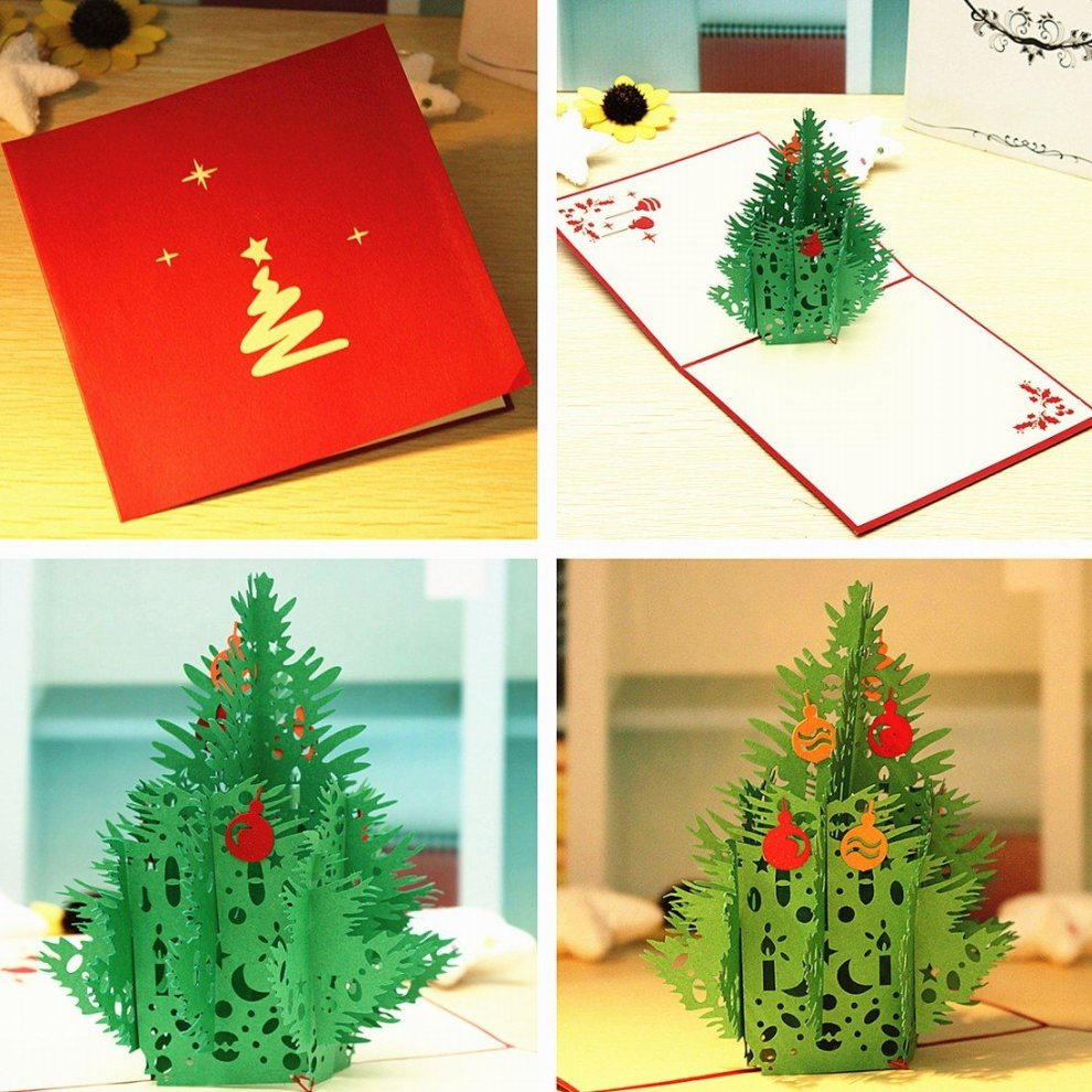 Christmas Greeting Card Making.3pcs Merry Christmas Cards 3d Green Tree Paper Card Xmas Pop Up Greeting Card Handmade Wishing Invitation Paper Cards Gifts For Christmas New Year