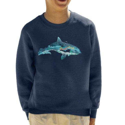 Dolphin Scuba Diver Silhouette Kid's Sweatshirt