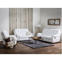 White Faux Leather Living Room Furniture Set BERGEN