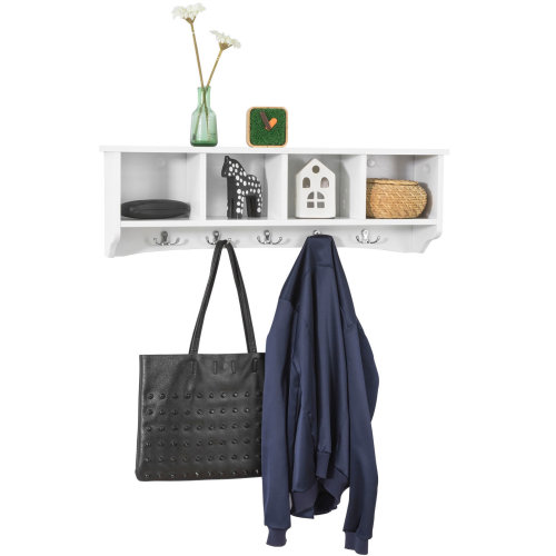 SoBuy® FRG48-L-W, Wall Storage Display Shelf Cabinet Wall Coat Rack