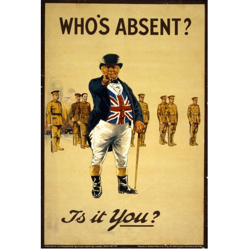 Advertising poster - Who's Absent? Is it You? - High definition printing on stainless steel plate