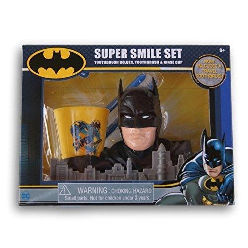 Batman Super Smile Set  Toothbrush Holder, Toothbrush & Rinse Cup