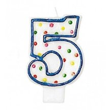 Polka Dot Birthday Candle Number 5 - 7.5cm -