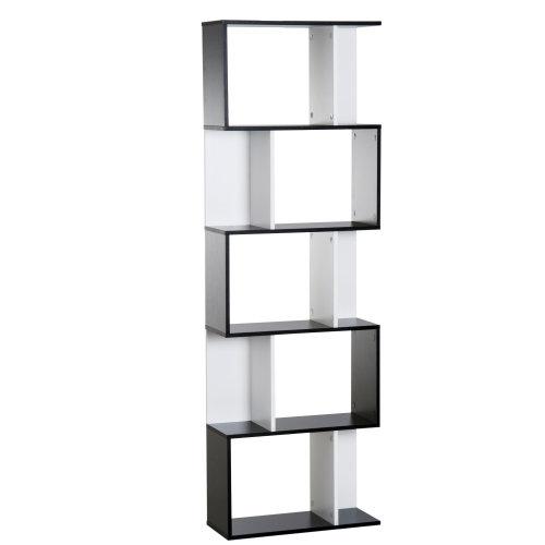 HOMCOM Particle Board 5-tier Bookcase Storage Display Shelving S Shape design Unit Divider