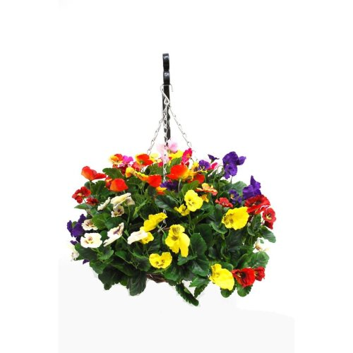 Artificial Silk Pansy Ball Hanging Basket