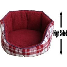 """Dog Bed Thick Red Chequered Material Fleece 36"""""""