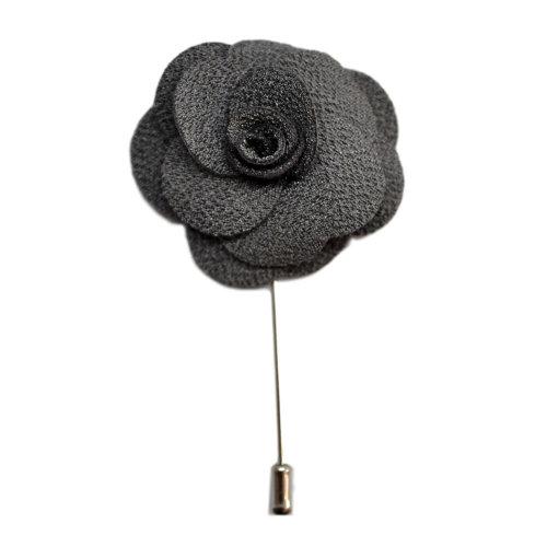 Dark Silver Grey Handmade Flower/Rose Lapel Pin for wearing with men's suit jacket, blazer, dinner jacket or tuxedo jacket