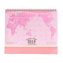 2018 Map Pattern Calendar Exquisite Office Supplies, Pink