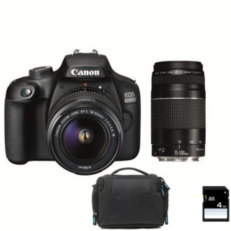 CANON EOS 4000D EF-S 18-55MM III + EF 75-300MM III +Bag + 16GB SD card