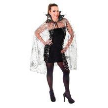 Black Adults Spider Web Cape -  cape spider halloween fancy dress web costume ladies silver WOMEN'S LADIES SILVER SPIDER WEB WITCH HORROR HALLOWEEN