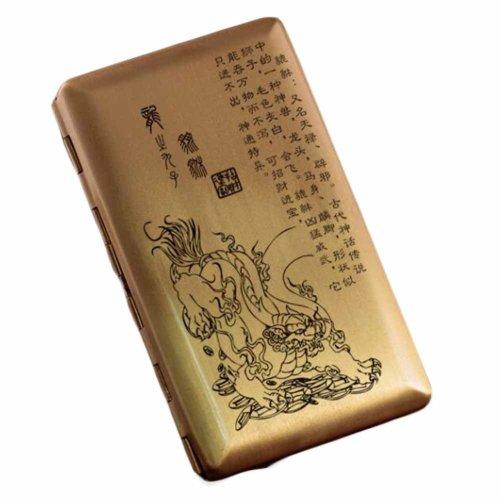 Brass Cigarette Case Copper Cigarette Case/Box/Holder Pocket Cigarette Storage Case Metal Card Case, Pi Xiu