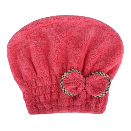 """Water Absorption Soft Turban Lovely Bowknot Shower Cap Bath Hair Dry Towel 9.84""""x25.59"""" (Red)"""