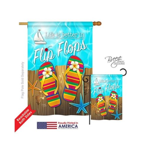 Breeze Decor 06003 Summer Better in Flip Flops 2-Sided Vertical Impression House Flag - 28 x 40 in.