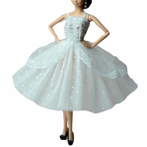 Doll Clothes Wedding Dress Up Evening Dress for 30 cm Doll, White