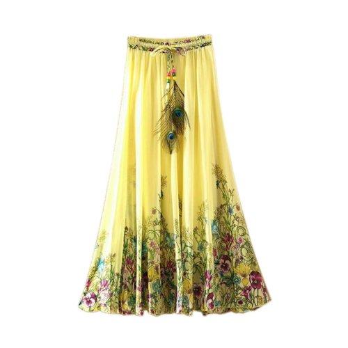 Yellow Flower Vine Pattern Summer Chiffon Skirt Large Swing Skirts Fairy Skirt