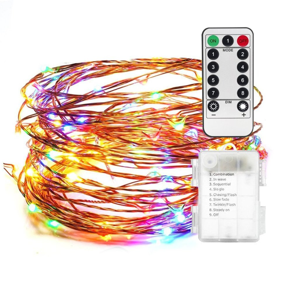 Andthere Led String Lights Battery Powered Multi Color Changing String Lights With Remote 50 Led Indoor Decorative Wire Lights For Bedroom