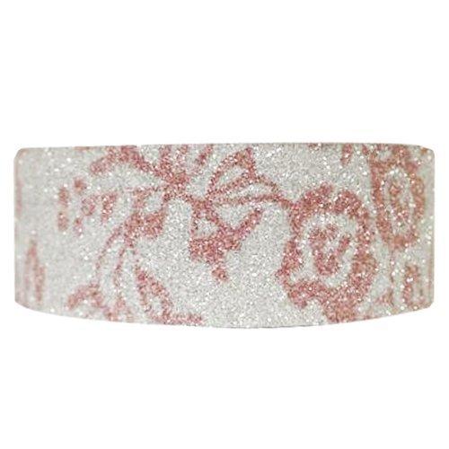 Wrapables Shimmer Washi Masking Tape Pink Flora