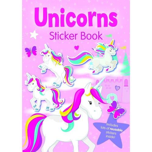 Childrens Girls Unicorns Sticker Book Reusable Stickers Colouring Activity