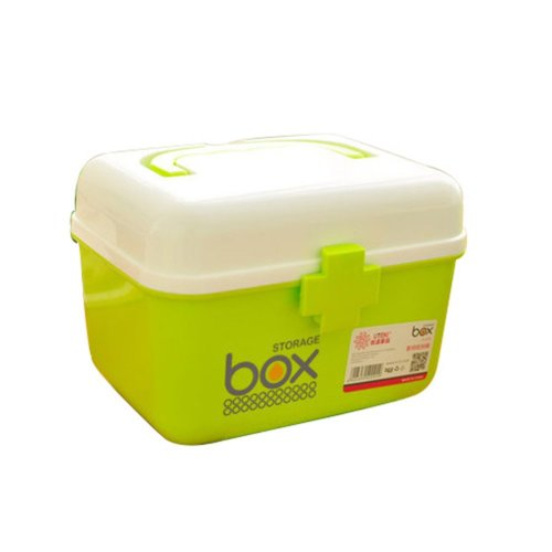 The Plastic Two-layer Household medicine chest/Storage Box(Green Medium)