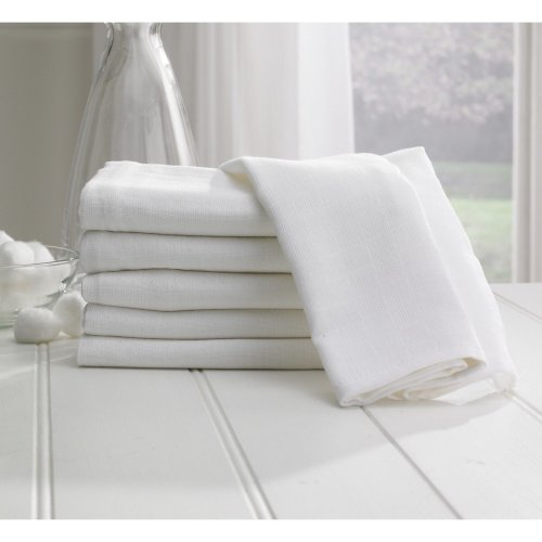 6x Reusable 100% Cotton Baby Muslin Squares White