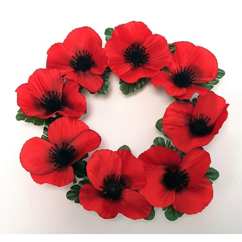 Artificial Red Poppy Wreath - 25cm with 8 Flowers - Remembrance Day