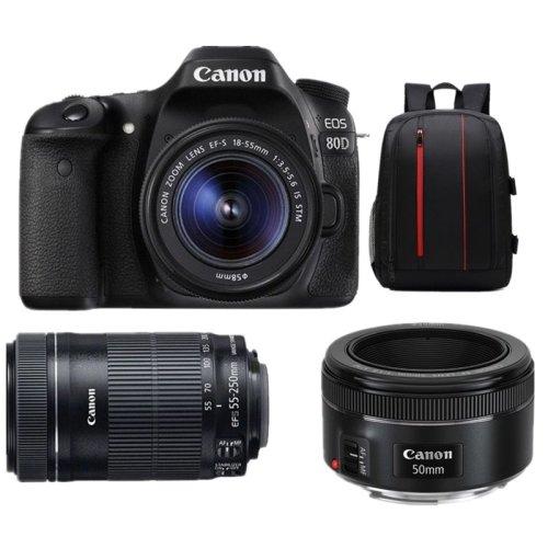CANON EOS 80D +EF-S 18-55mm IS STM+EF-S 55-250 IS STM+EF 50mm F1.8 STM