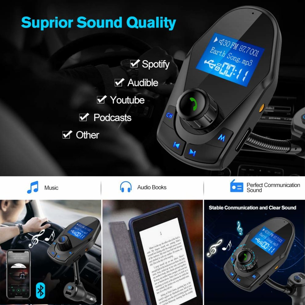 [Upgraded Version]FM Transmitter, Nulaxy Bluetooth Car MP3 Player Radio  Adapter Hands-free Talking Car Kit with Power On/OFF Button, Dual 5V 2 1A