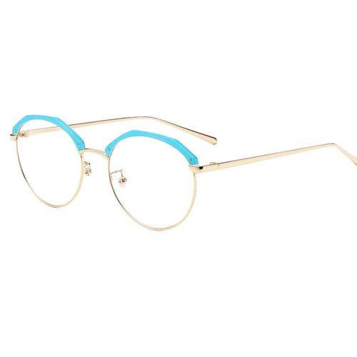 Personality Polygon Flat Glasses Retro Decorative Glasses Frames -Blue